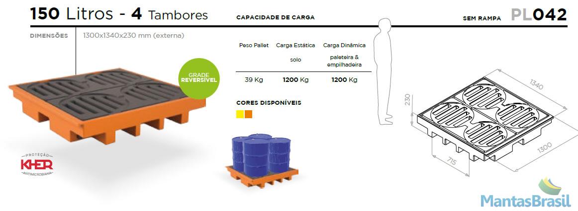 PALLET DE CONTENÇÃO - PL042 - 4 TAMBORES - 150 L