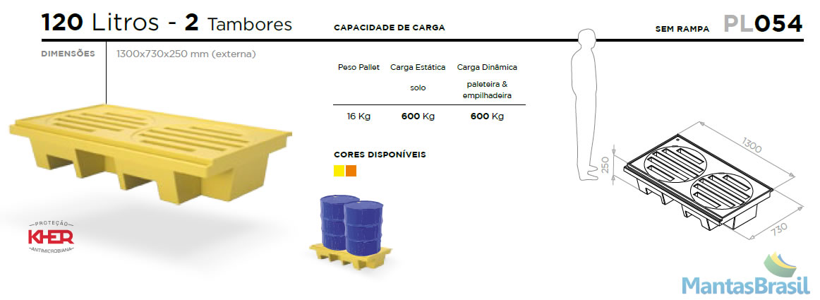 PALLET DE CONTENÇÃO PL054 2 TAMBORES 120 L