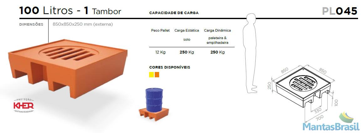 PALLET DE CONTENÇÃO PL045 1 TAMBOR 100 L