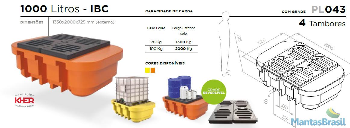 PALLET DE CONTENÇÃO PL043 PARA IBC 1000 L C/G