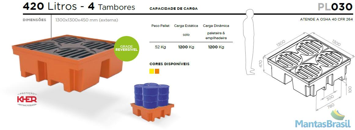 PALLET DE CONTENÇÃO - PL030 - 4 TAMBORES - 420 L