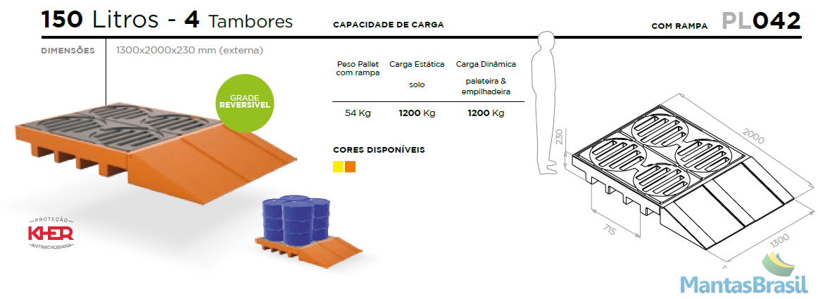PALLET DE CONTENÇÃO - PL042 - 4 TAMBORES - 150 L C/RAMPA