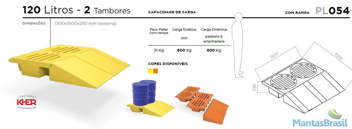 PALLET DE CONTENÇÃO PL054 2 TAMBORES 120 L C/RAMPA